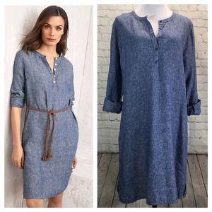 Garnet Hill Blue Linen Shirt Dress 14 Lagenlook